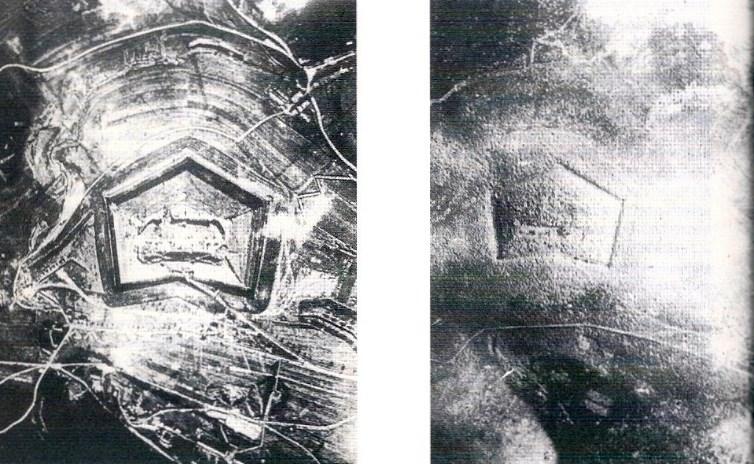 Fort Douaumont vor und nach seiner Zerstoerung