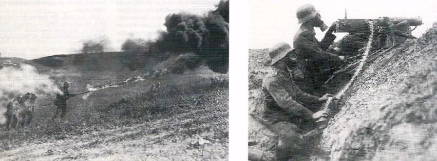 Flammenwerfer und Maschinengewaehr